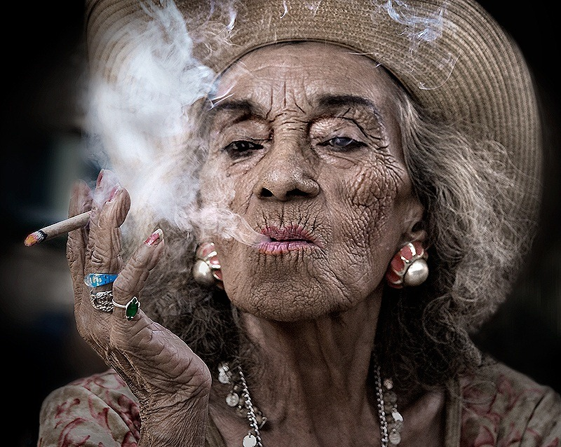 old-woman-smoking-sandy-powers Got an old lady friend slash client who had ...